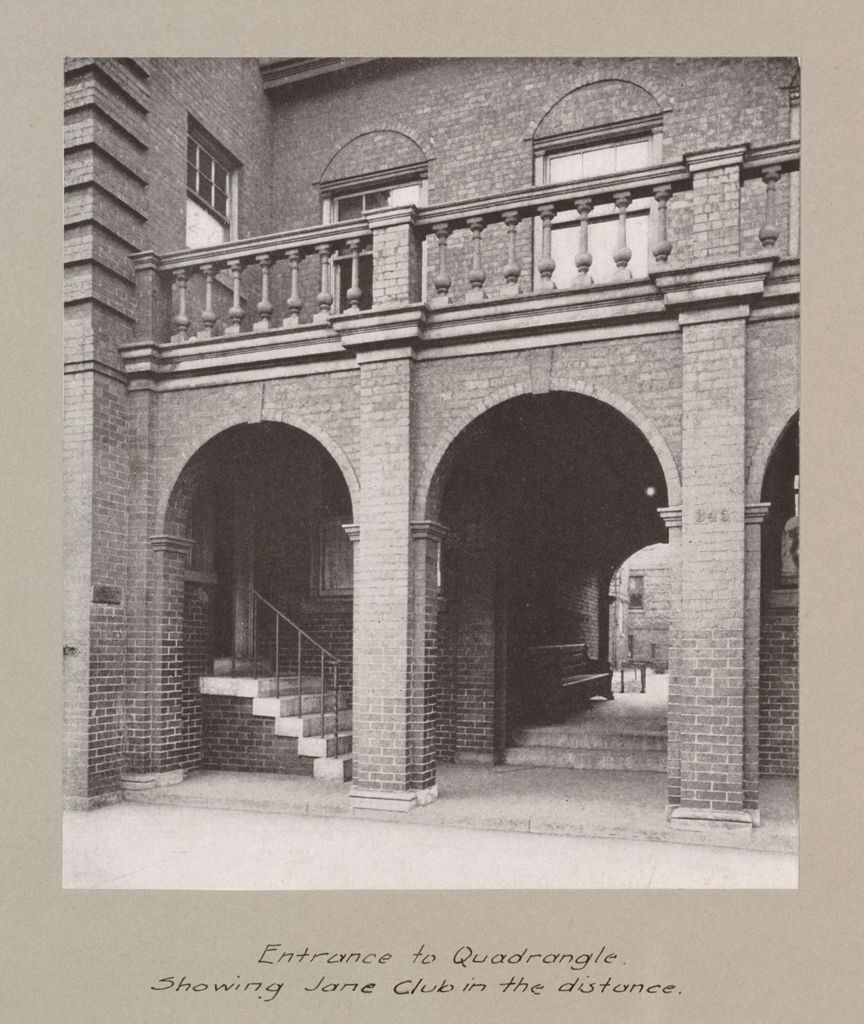 Social Settlements: United States. Illinois. Chicago. Hull House: Hull House, Chicago, Ill.: Entrance To Quadrangle. Showing Jane Club In The Distance.