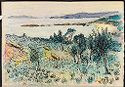 Mediterranean Landscape With Olive Trees; Verso: Blank Page
