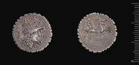 Serrate Denarius Of L. Licinius L.f. C.n Crassus, Cn. Domitius Cn.f. Cn.n. Ahenobarbus, And L. Pomponius, Narbo