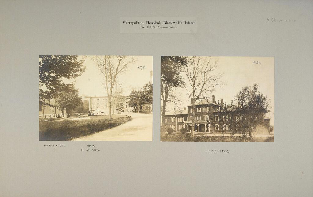 Charity, Hospitals: United States. New York. New York City. Metropolitan Hospital, Blackwell's Island: Metropolitan Hospital, Blackwell's Island (New York City Almshouse System)