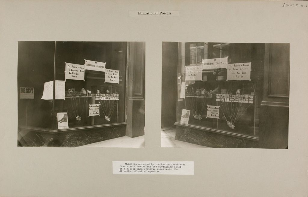 Charity, Organizations: United States. Massachusetts. Boston Associated Charities: Educational Posters: Exhibits Arranged By The Boston Associated Charities Illustrating The Purchasing Power Of A Dollar When Properly Spent Under The Direction Of Relief Agencies.