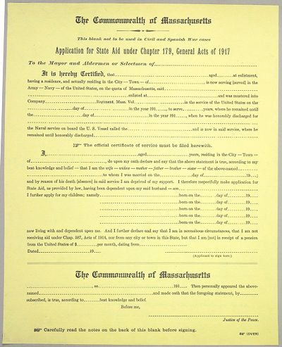 Charity, Public: United States. Massachusetts. Boston. American Agencies For War Relief: American Agencies For War Relief. Civilian Relief. Investigation And Record Blanks: Application For State Aid Under Chapter 179