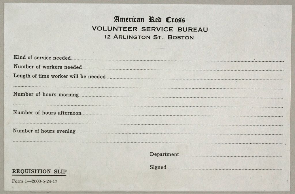 Charity, Public: United States. Massachusetts. Boston. American National Red Cross: American National Red Cross. Record Blanks: Requisition Slip