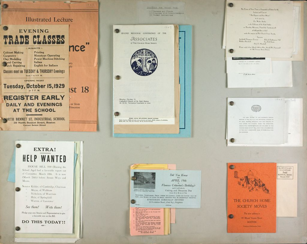 Charity, Organizations: United States. Massachusetts. Boston. Publicity For Social Work. (1) Posters And Flyers. (2) Programs With Advertisements. (3) Formal Invitations.