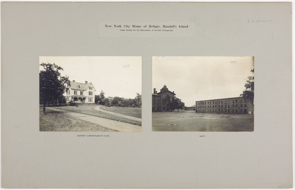 Crime, Children, Reform Schools: United States. New York. New York City. Randall's Island, House Of Refuge: New York City Home Of Refuge, Randall's Island (State Society For The Reformation Of Juvenile Delinquents)