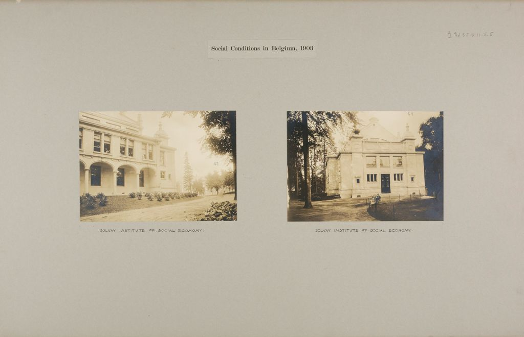 Education, Social And Political: Belgium. Brussels. Institut Solvay: Social Conditions In Belgium, 1903