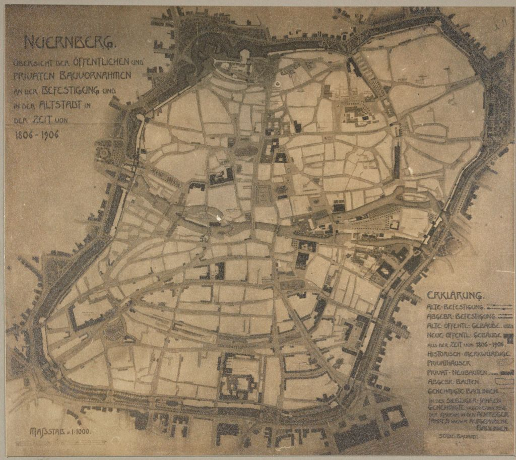 Government, City: Germany. Nuremberg. Plan Of City & Of Garden Suburb: Town Planning, Germany: Old Nürnberg Showing Old Type Of Street Plan Copied By Modern City Planners_