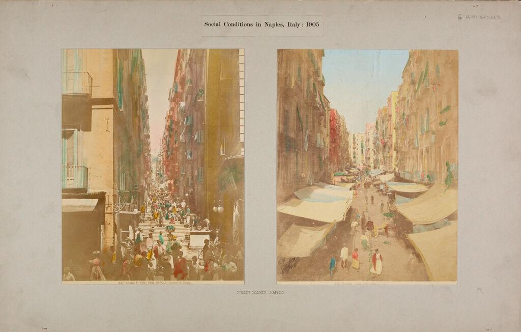 Housing, Conditions: Italy. Naples. Tenements: Social Conditions In Naples, Italy: 1905: Street Scene: Naples.