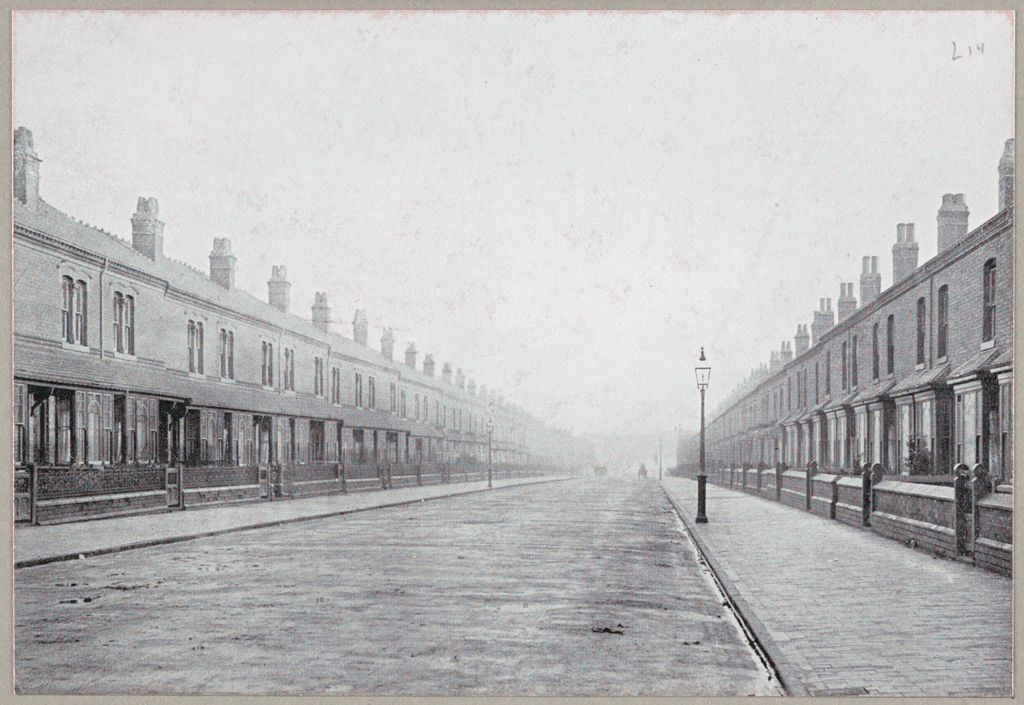 Housing, Conditions: Great Britain, England. Birmingham. Building Types Under The Bye-Laws: Housing Conditions, Great Britain: Bye Law Road, Birmingham. Showing How Unnecessarily Wide Streets And Monotonous Houses May Be Perpetuated In Residence Quarters By Unwise Legislation.
