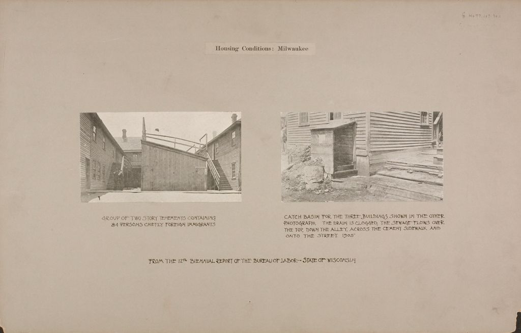Housing, Conditions: United States. Wisconsin. Milwaukee. Tenements: Housing Conditions: Milwaukee: From The 12Th Biennial Report Of The Bureau Of Labor - State Of Wisconsin