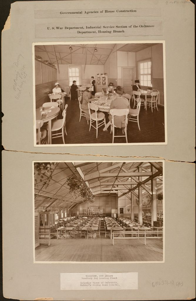 Housing, Government: United States. New Jersey. Woodbury: Governmental Agencies Of House Construction. U.s. War Department, Industrial Service Section Of The Ordnance Department, Housing Branch: Woodbury, New Jersey. Woodbury Bag Loading Plant: Interior Views Of Cafeteria, Matron's Dining Room (Above).