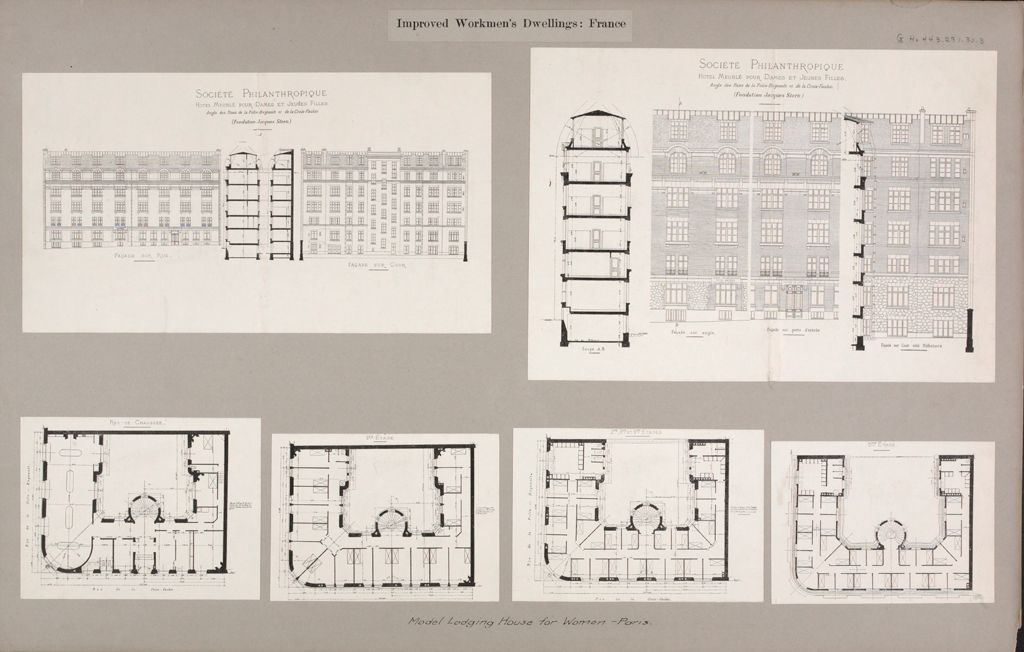 Housing, Improved: France. Paris. Société Philanthropique: Women's Lodging Houses Maison Marjolin, Foundation Jacques Stern: Improved Workmen's Dwellings: France: Model Lodging House For Women - Paris.