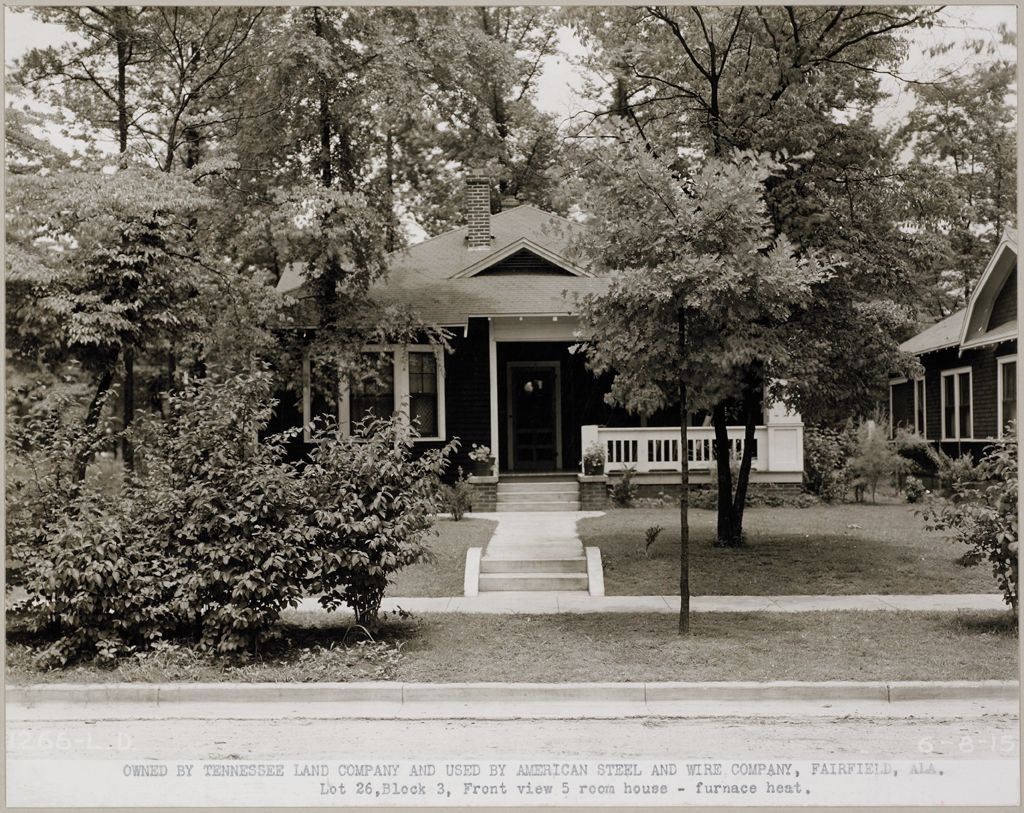 Housing, Industrial: United States. Alabama. Fairfield: Industrial Housing, Frame Construction Bungalows: Owned By Tennessee Land Company And Used By American Steel And Wire Company, Fairfield, Ala.: Lot 26, Block 3, Front View 5 Room House - Furnace Heat.