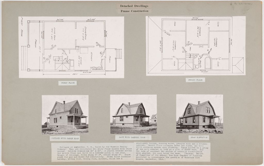 Housing, Industrial: United States. New York. Amsterdam: Detached Dwellings. Frame Construction: Cottages At Amsterdam, N.y., Built By The Rockton Realty Company.