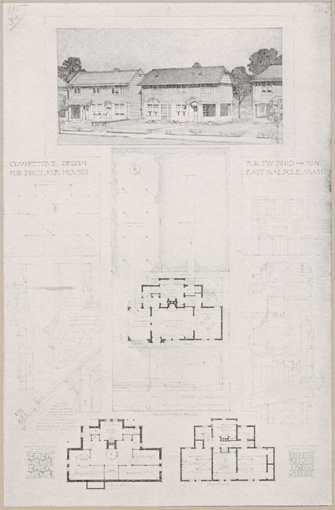 Housing, Industrial: United States. Massachusetts. East Walpole: Methods Of Cheap Construction: Detached Dwellings: Proslate: Competitive Design For Proslate Houses For F.w. Bird And Son East Walpole Mass.