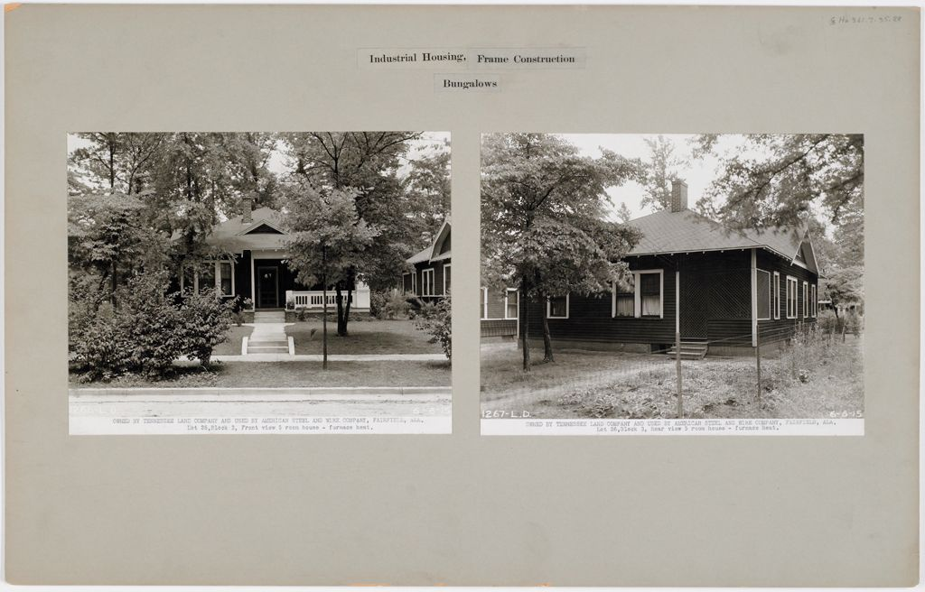 Housing, Industrial: United States. Alabama. Fairfield: Industrial Housing, Frame Construction Bungalows