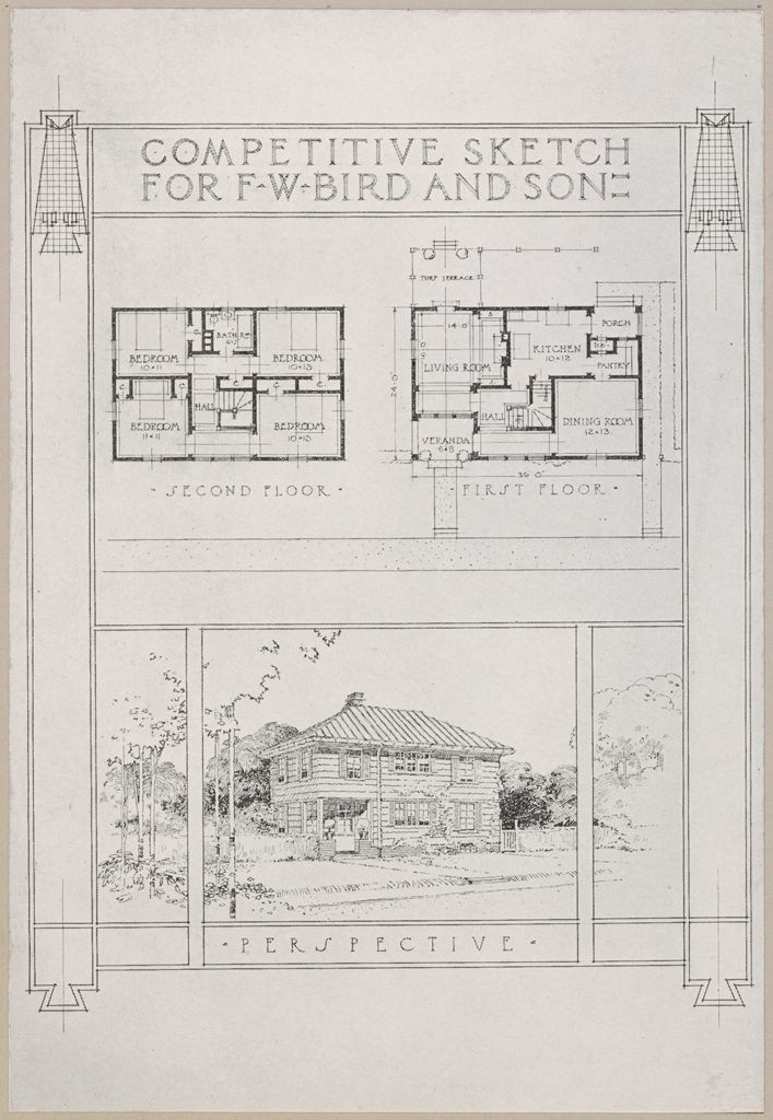 Housing, Industrial: United States. Massachusetts. East Walpole: Methods Of Cheap Construction: Detached Dwellings: Proslate: Competitive Sketch For F.w. Bird And Son