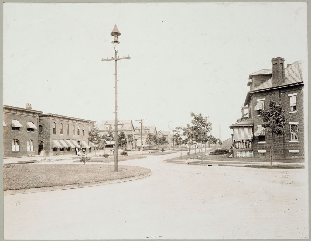 Housing, Industrial: United States. New Jersey. Roebling: Industrial Housing, Row Dwellings Brick Construction: John A. Roebling's Sons Company Roebling, New Jersey: Main Street. Corner Of Fifth Avenue Looking East Toward The Mills.