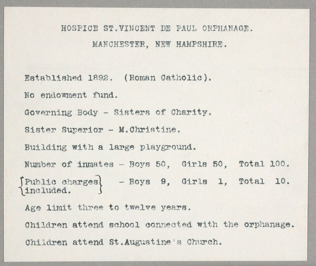 Charity, Children: United States. New Hampshire. Manchester. Hospice St. Vincent De Paul Orphanage: New Hampshire State Charitable And Correctional Insitutions: Hospice St. Vincent De Paul Orphanage. Manchester, New Hampshire.