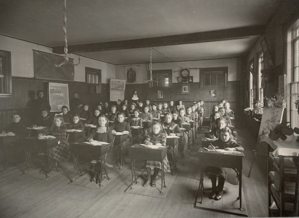 Charity, Children: United States. New Hampshire. Manchester. St. Patrick's Orphanage For Girls: New Hampshire State Charitable And Correctional Institutions: School Room.