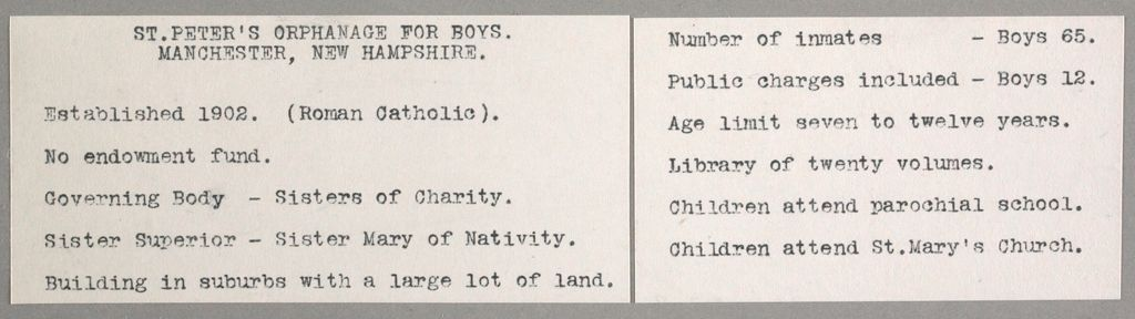 Charity, Children: United States. New Hampshire. Manchester. St. Peter's Orphanage For Boys: New Hampshire State Charitable And Correctional Institutions.: St. Peter's Orphanage For Boys. Manchester, New Hampshire.