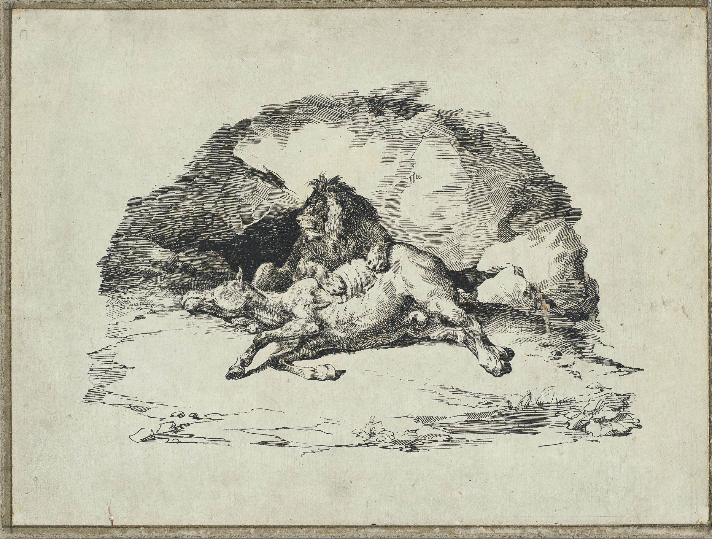 """Lithographic Printing Matrix For """"Lion Devouring A Horse"""""""
