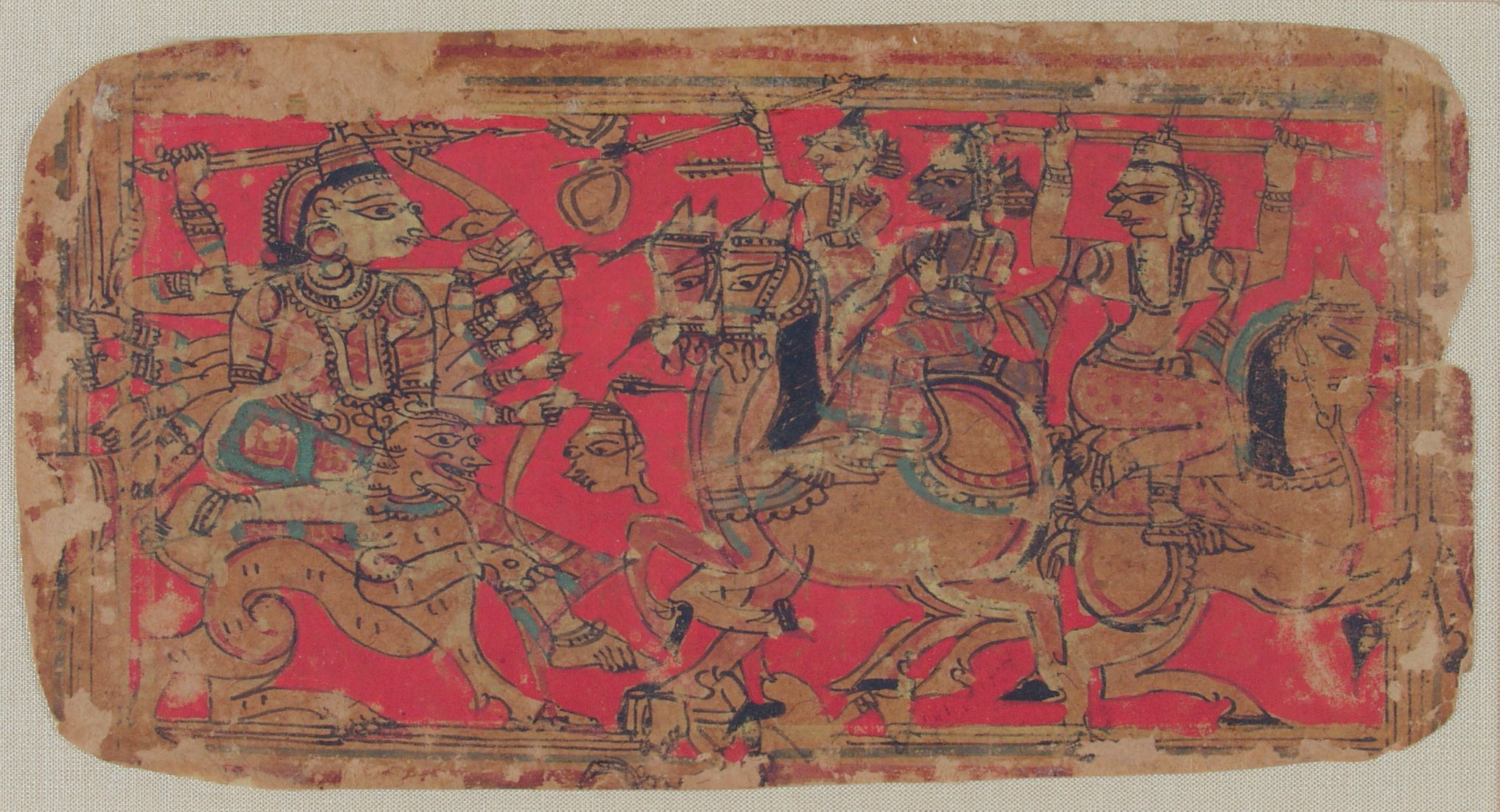 The Goddess Durga Battles Demons, Folio From A Manuscript Of The Durgasaptashati (Seven Hundred Couplets In Praise Of Durga)