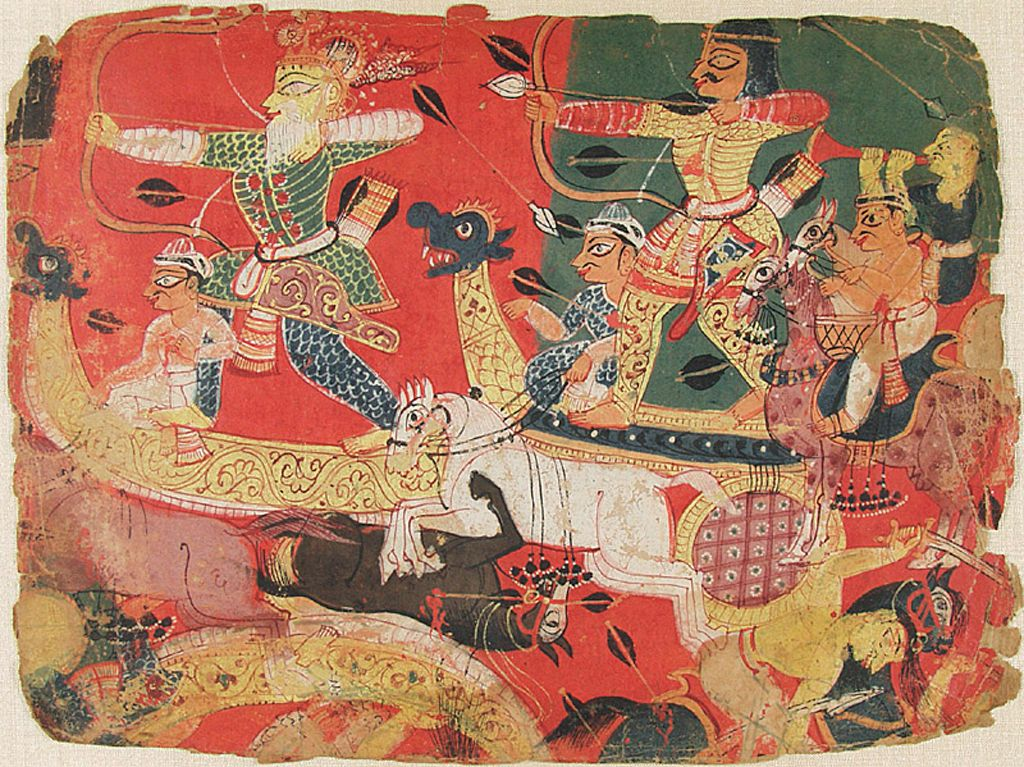 Battle Scene, Folio Fragment From An Album Of The Bhagavata Purana (Ancient Stories Of The Lord)A Bhagavat Purana Series
