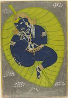 The Infant Krishna Floating on the Cosmic Ocean, Folio from a Bhagavata Purana (History of God) series