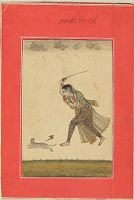 A Lady Chases A Cat With A Stick