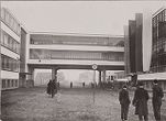 Bauhaus Building, Dessau, 1925-1926: Main entrance on opening day, 4 December 1926