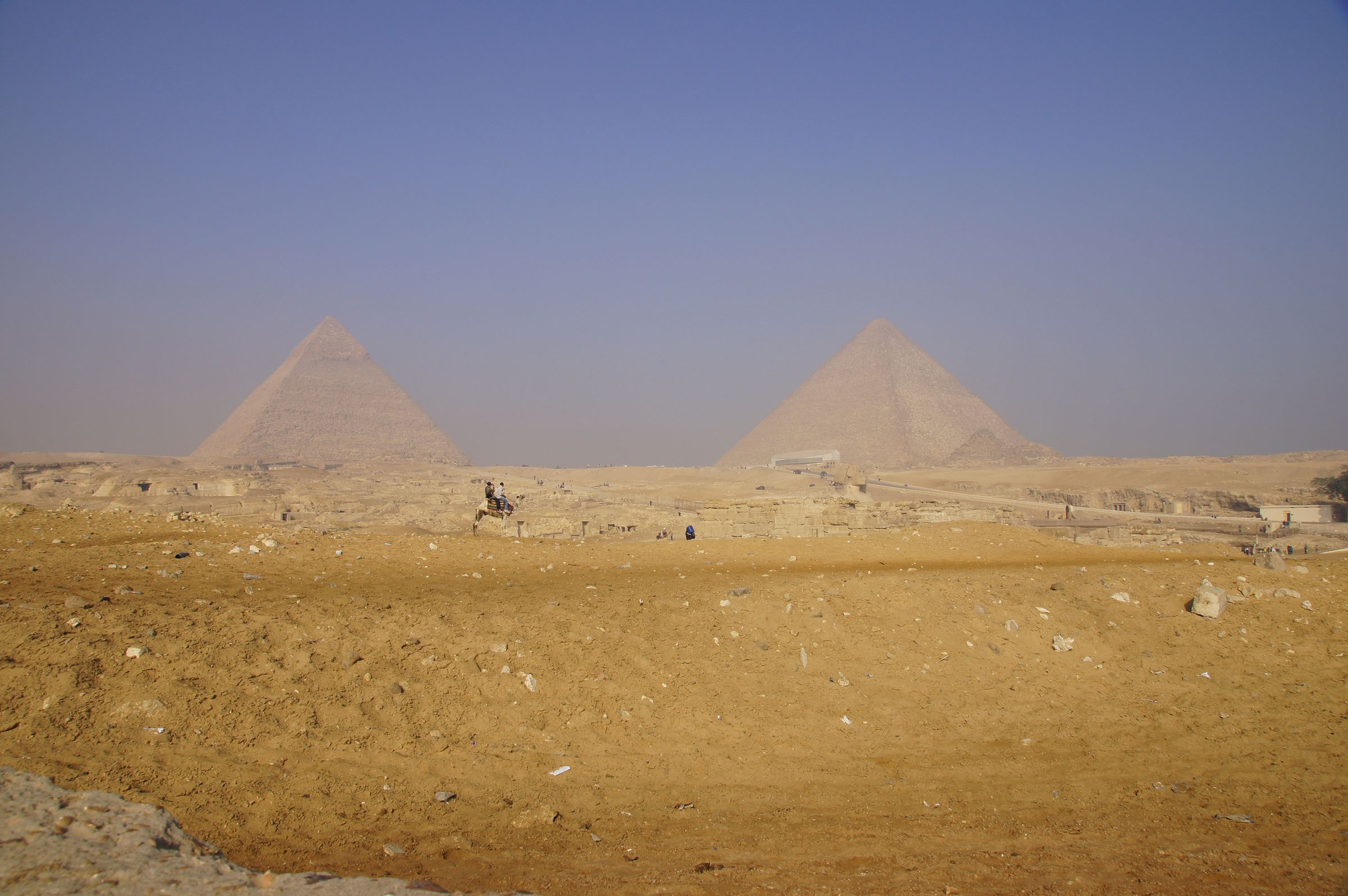 General view: Site: Giza; View: Central Field, Sphinx, Khafre Pyramid, Khufu Pyramid