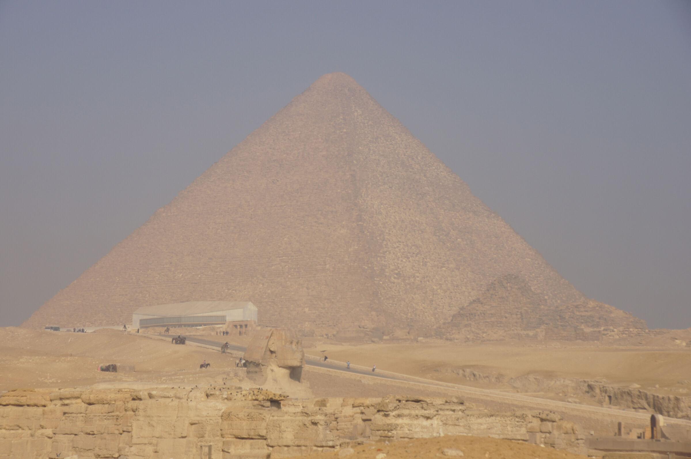Khufu Pyramid Complex: Site: Giza; View: Khufu Pyramid, Sphinx, Khufu Boat Museum, G I-c, G I-b