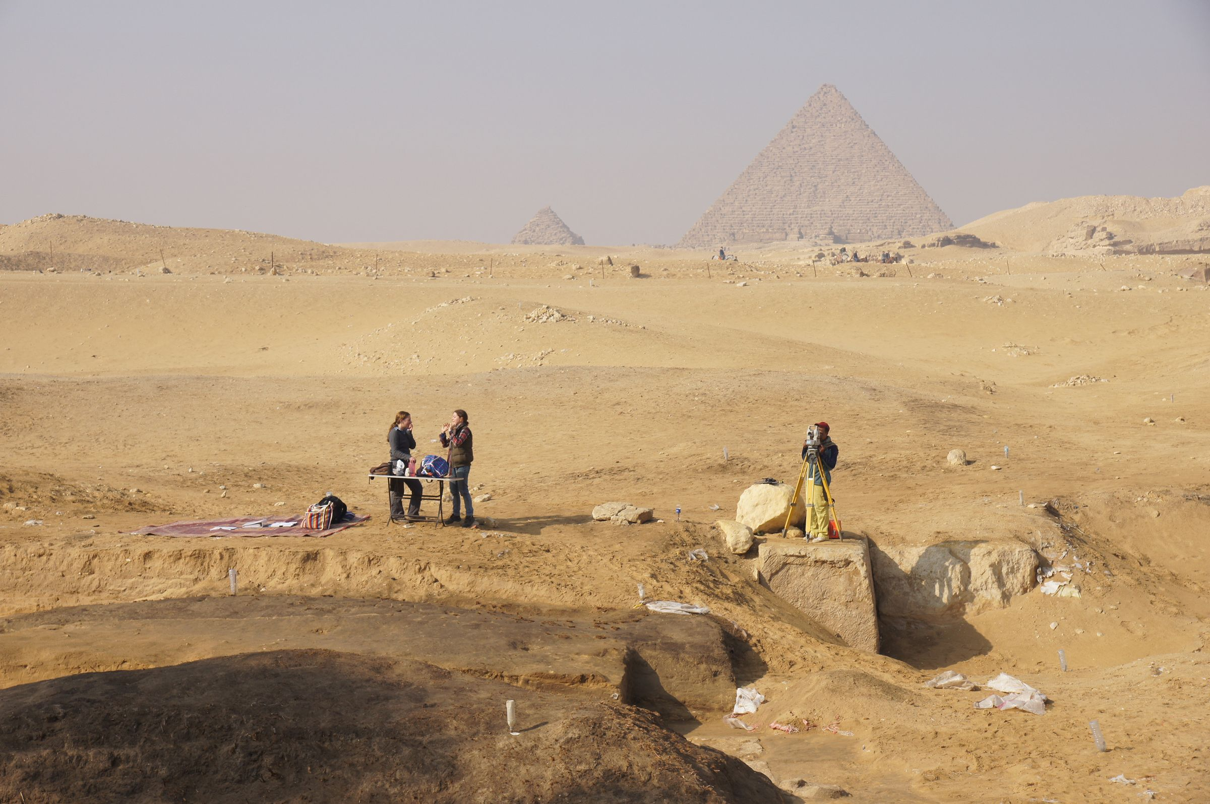 Menkaure Pyramid Complex: Site: Giza; View: Menkaure Valley Temple, Menkaure Pyramid