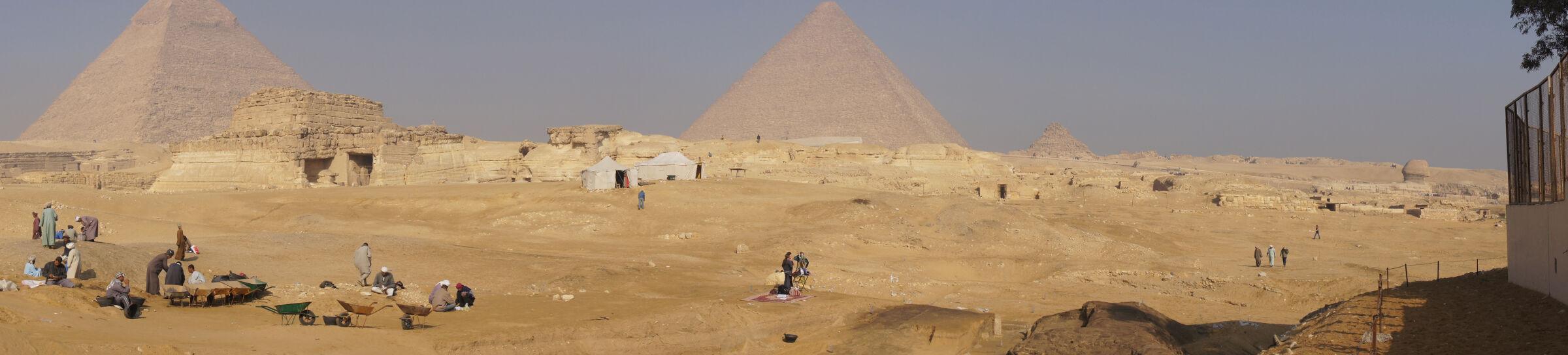Menkaure Pyramid Complex: Site: Giza; View: Menkaure Valley Temple, G 8400, Khafre Pyramid, Khufu Pyramid