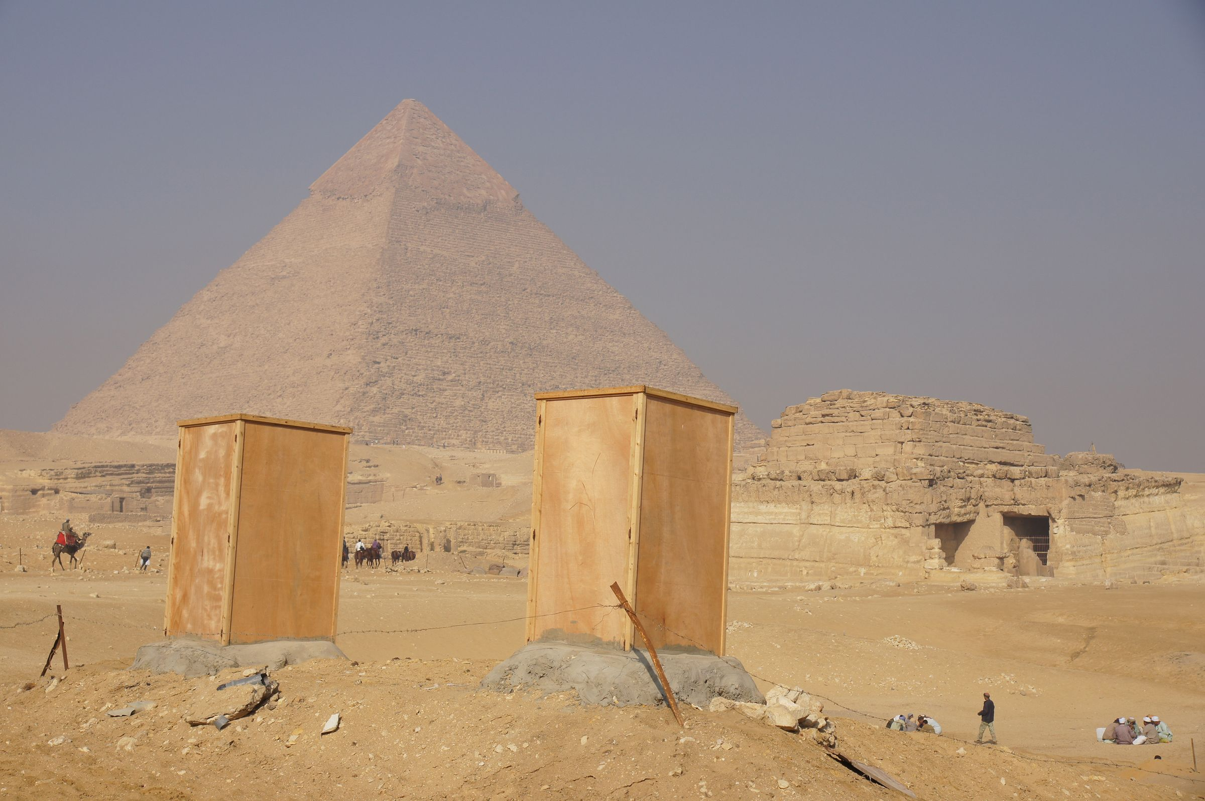 Menkaure Pyramid Complex: Site: Giza; View: Menkaure Valley Temple, G 8400, Khafre Pyramid