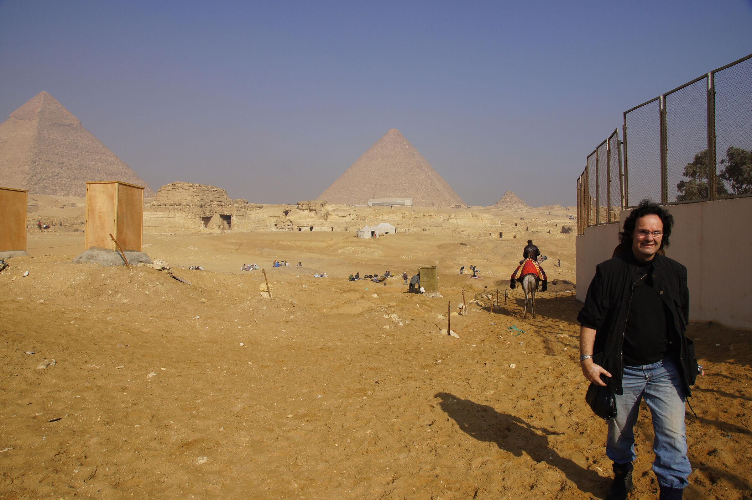 Menkaure Pyramid Complex: Site: Giza; View: Menkaure Valley Temple, G 8400, Khufu Pyramid, Khafre Pyramid, Muslim Cemetery