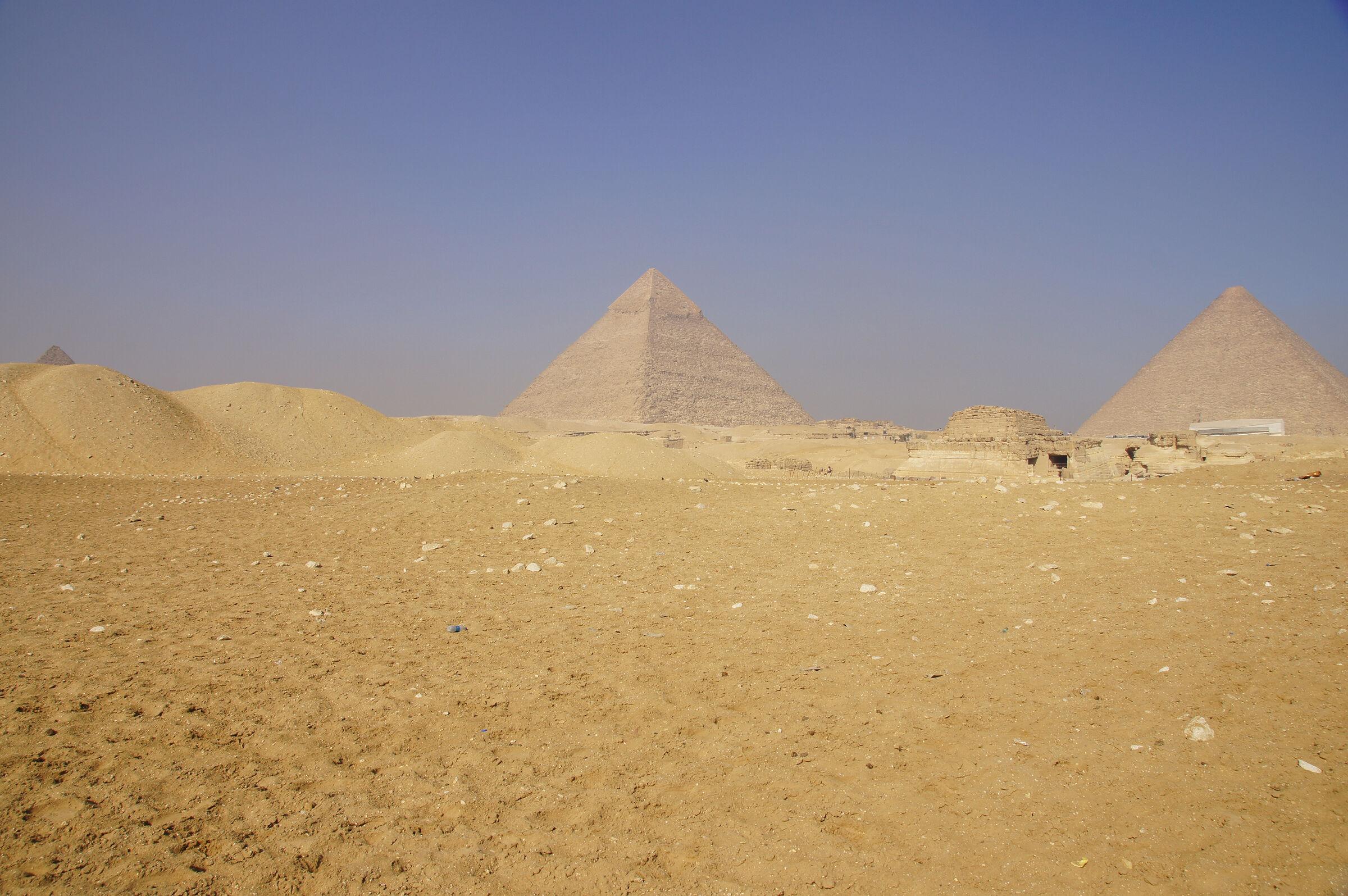 General View: Site: Giza; View: Khafre Pyramid, G 8400, Khufu Pyramid