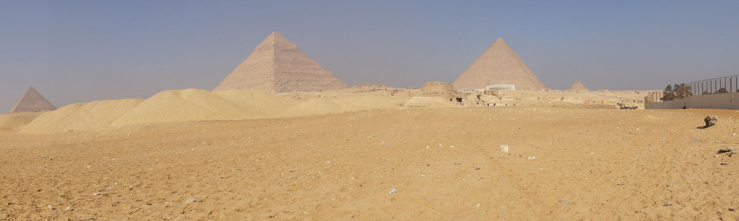 General View: Site: Giza; View: Menkaure Pyramid, Khafre Pyramid, G 8400, Khufu Pyramid