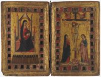 The Virgin And Child Enthroned; Christ On The Cross Between The Virgin And Saint John The Evangelist