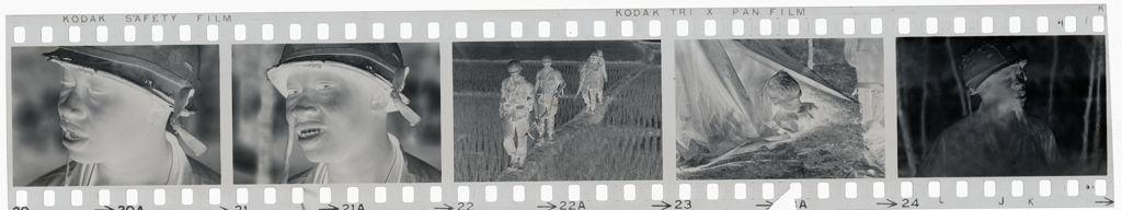 Untitled (Soldier In Helmet; Soldiers Walking Through Rice Paddy; Soldier Poking Head Out Of Tent, Vietnam)