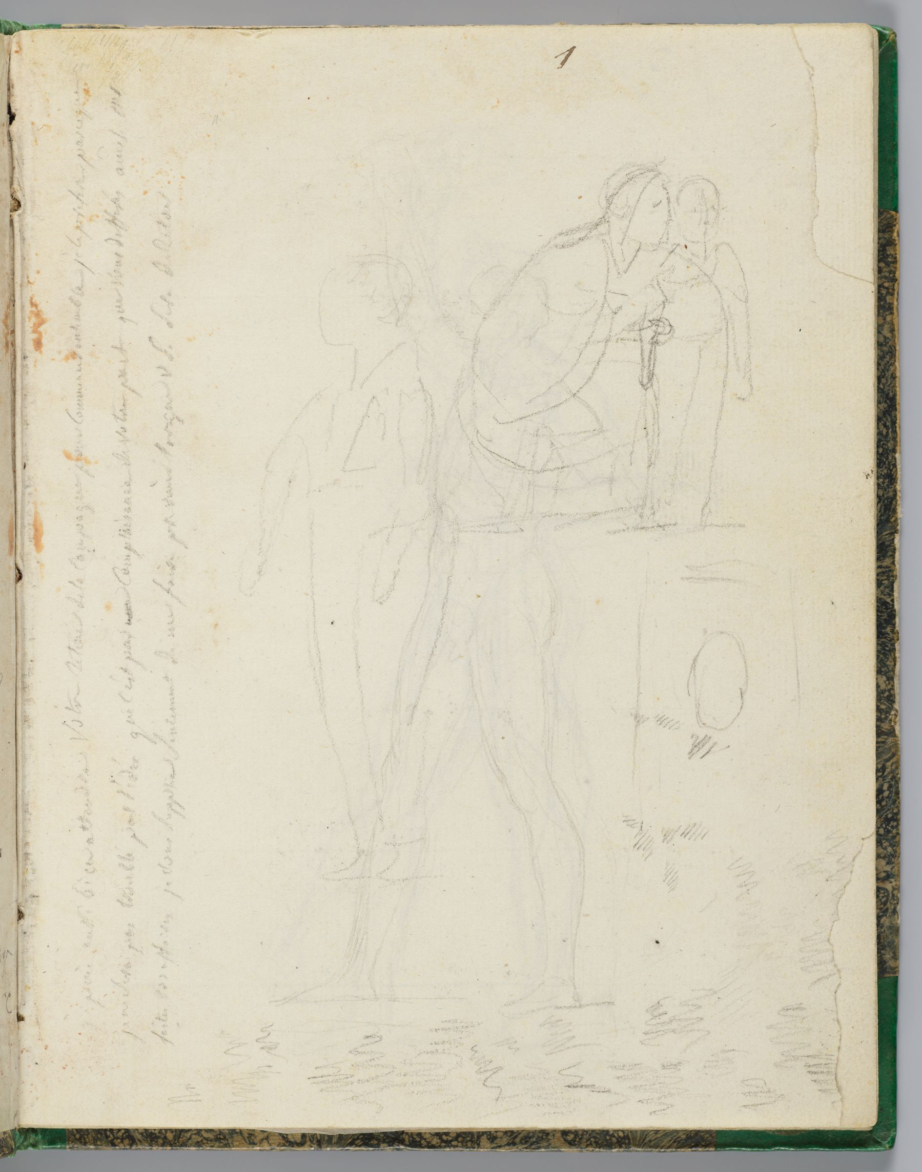 Two Faint Sketches Of Napoleon; Princess Louis Kneeling Beside Prince Napoleon-Charles; Verso: Napoleon Striding Forward While Holding The Crown