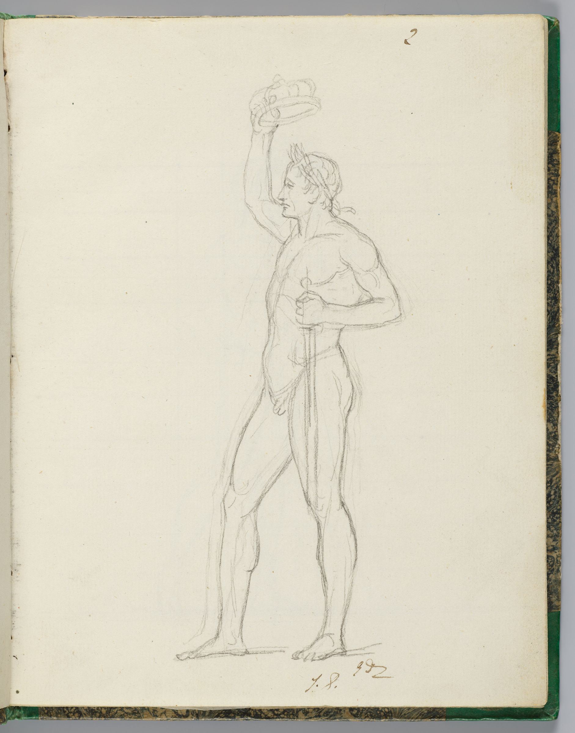 Napoleon, Nude, Crowning Himself While Holding A Sword; Verso: Napoleon, Nude, Crowning Himself