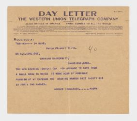 [Telegram to Mr. A. C. Coolidge from Horace Trumbauer, Philadelphia], [July 17, 1912, 4:56 PM]