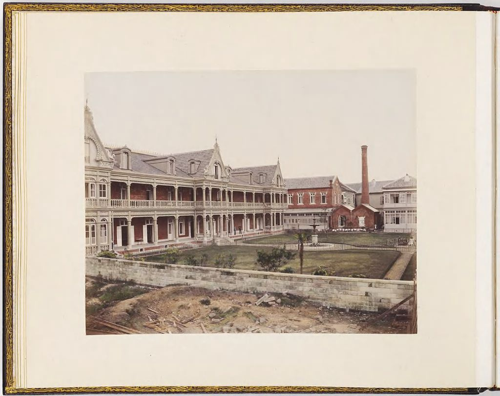Untitled (View Of Buildings With Two Figures On Verandah, Courtyard With Fountains)