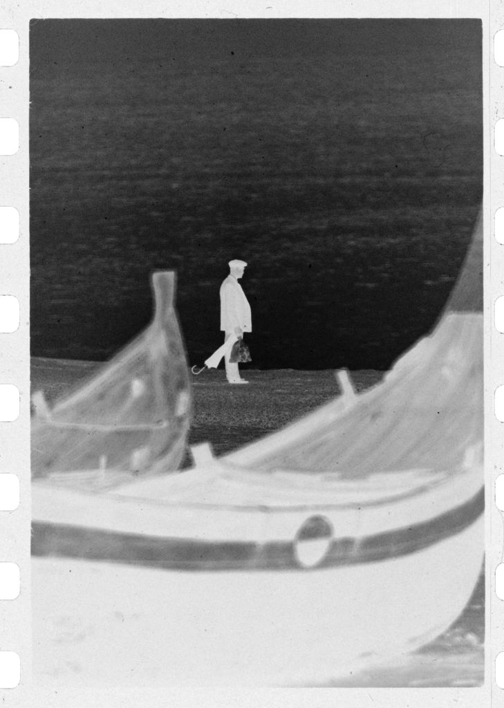Untitled (Fishing Boats On Beach With Man Walking In Background, Nazaré, Portugal)