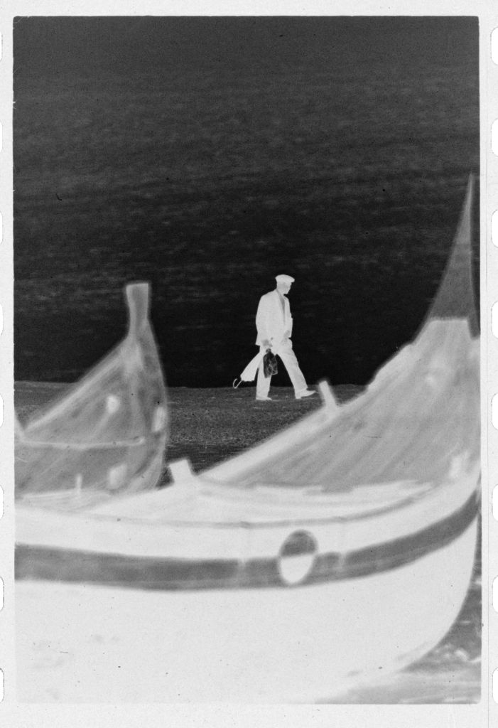 Untitled (Fishing Boats On The Beach With Man Walking In Background, Nazaré, Portugal)