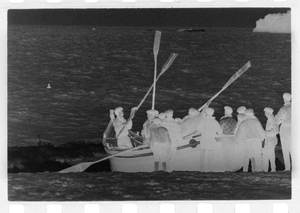 Untitled (Men Pushing Fishing Boat Out To Sea, Nazaré, Portugal)