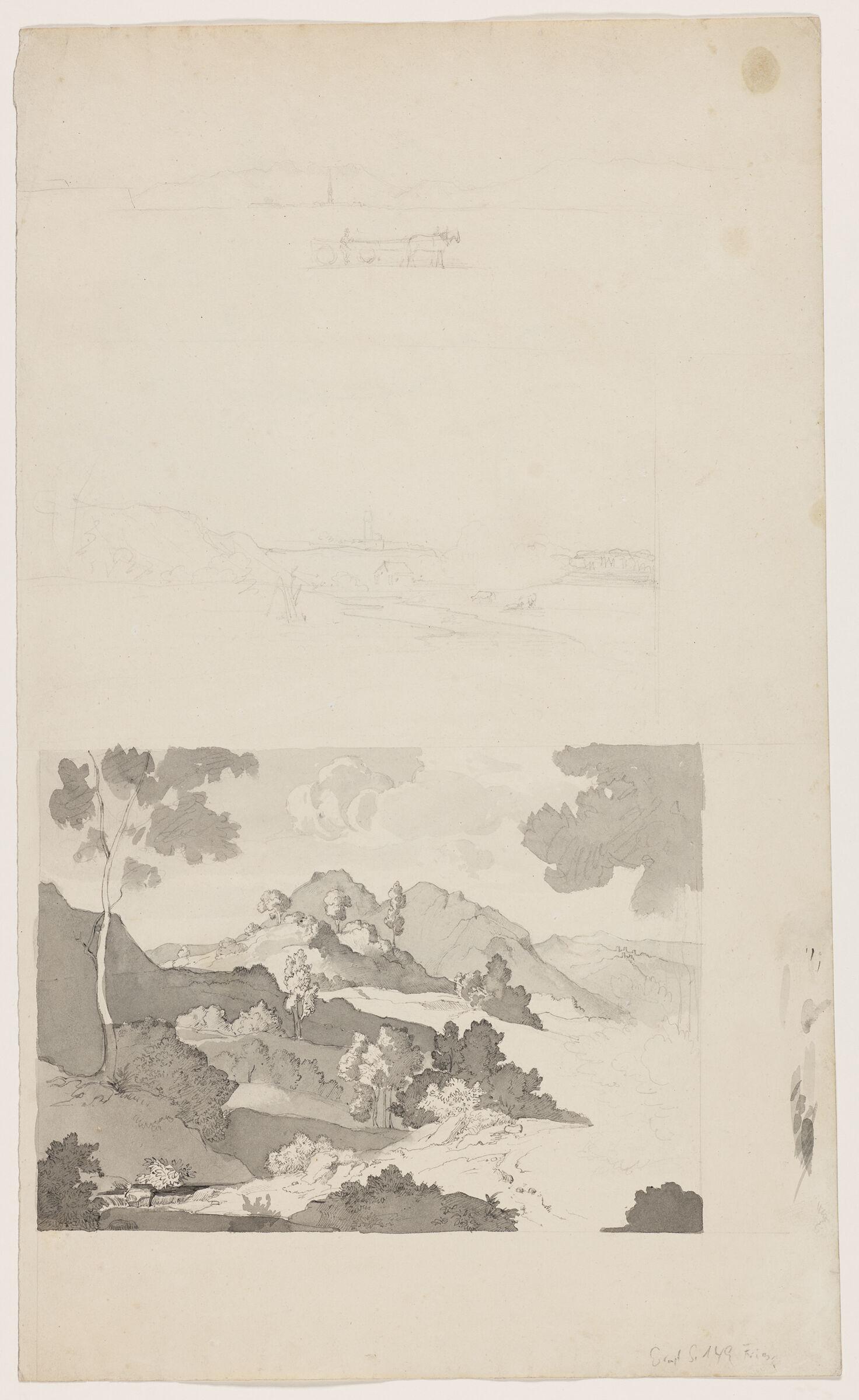 Rocca Di Mezzo, Near Vivitella, In The Ruffi Mountains; Verso: Studies Of Trees
