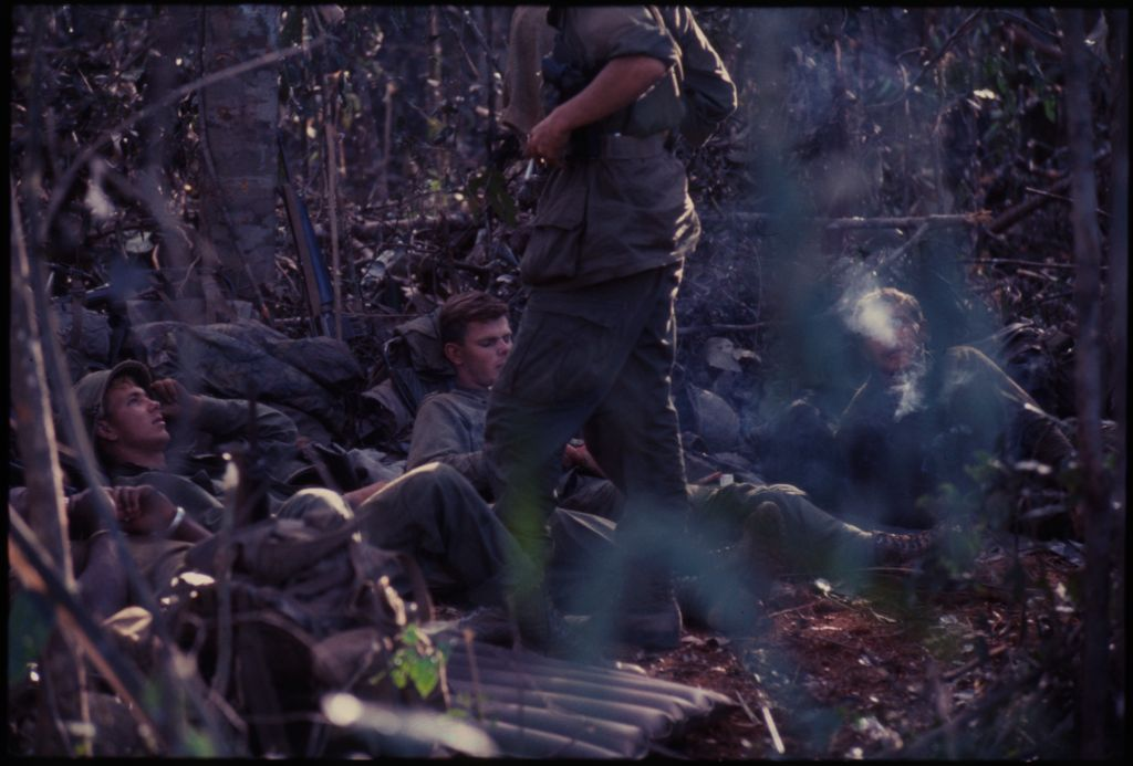 Untitled (Soldiers Resting On Floor Of Jungle, Central Highlands Near Dak To, Vietnam)